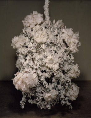 Petah Coyne (American, born 1953). <em>Untitled #816 (Dr. Zhivago)</em>, 1995-1996. Formulated wax, steel, antique birdhouse, wire cable, ribbon, silk flowers, candles, 75 1/2 x 52 x 47 in., 480 lb. (191.8 x 132.1 x 119.4 cm, 217.7kg). Brooklyn Museum, Anonymous gift in honor of Charlotta Kotik, 1997.191. © artist or artist's estate (Photo: Photograph courtesy of Galerie Lelong, NY, CUR.1997.191_view1_Galerie_Lelong_NY_Wit_McKay_photo.jpg)