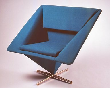 Verner Panton (Danish, 1926-1998). <em>Pyramid Armchair</em>, 1959. Wool upholstery, bent sheet metal construction on chrome plated base, 30 x 32 x 26 in. (76.2 x 81.3 x 66.1 cm). Brooklyn Museum, Modernism Benefit Fund and H. Randolph Lever Fund, 1997.67.2. Creative Commons-BY (Photo: Brooklyn Museum, CUR.1997.67.2.jpg)