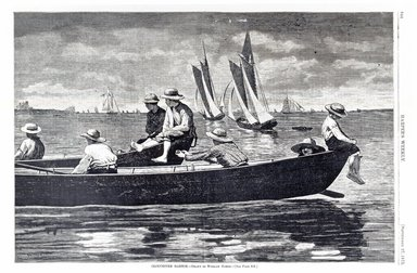 Winslow Homer (American, 1836-1910). <em>Gloucester Harbor</em>, 1873. Wood engraving, Image: 9 1/4 x 14 in. (23.5 x 35.6 cm). Brooklyn Museum, Gift of Harvey Isbitts, 1998.105.179 (Photo: Brooklyn Museum, CUR.1998.105.179_bw.jpg)