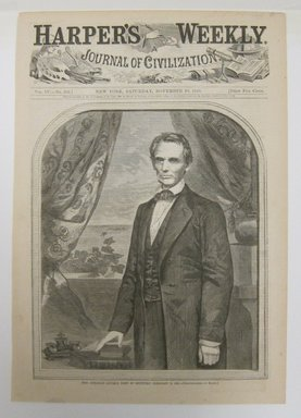 Winslow Homer (American, 1836-1910). <em>Hon. Abraham Lincoln, born in Kentucky, February 12, 1809</em>, 1860. Wood engraving, Illustration: 8 1/2 x 5 3/4 in. (21.8 x 14.8 cm). Brooklyn Museum, Gift of Harvey Isbitts, 1998.105.42 (Photo: Brooklyn Museum, CUR.1998.105.42.jpg)