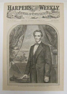 Winslow Homer (American, 1836-1910). <em>Hon. Abraham Lincoln, born in Kentucky, February 12, 1809</em>, 1860. Wood engraving, Illustration: 8 1/2 x 5 3/4 in. (21.8 x 14.8 cm). Brooklyn Museum, Gift of Harvey Isbitts, 1998.105.42 (Photo: Brooklyn Museum, CUR.1998.105.42.jpg)
