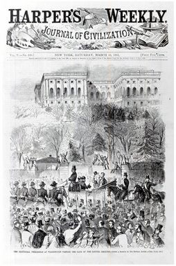 Winslow Homer (American, 1836-1910). <em>The Inaugural Procession at Washington Passing the Gate of the Capitol Grounds</em>, 1861. Wood engraving, Illustration: 11 1/8 x 9 1/16 in. Brooklyn Museum, Gift of Harvey Isbitts, 1998.105.49 (Photo: Brooklyn Museum, CUR.1998.105.49_bw.jpg)