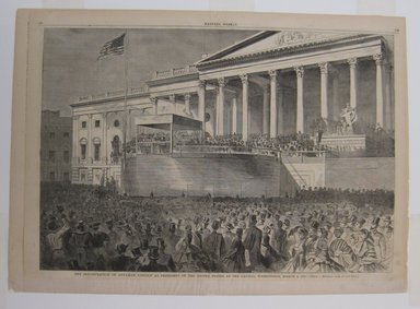 Winslow Homer (American, 1836-1910). <em>The Inauguration of Abraham Lincoln as President of the United States, at the Capitol, Washington, March 4, 1861</em>, 1861. Wood engraving, Illustration: 13 3/4 x 20 1/4 in. (35 x 51.5 cm). Brooklyn Museum, Gift of Harvey Isbitts, 1998.105.52 (Photo: Brooklyn Museum, CUR.1998.105.52.jpg)