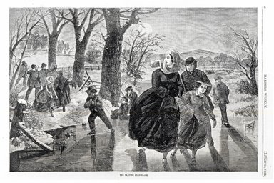 Winslow Homer (American, 1836-1910). <em>The Skating Season---1862</em>, 1862. Wood engraving, Image: 9 1/8 x 13 3/4 in. (23.2 x 34.9 cm). Brooklyn Museum, Gift of Harvey Isbitts, 1998.105.67 (Photo: Brooklyn Museum, CUR.1998.105.67_bw.jpg)