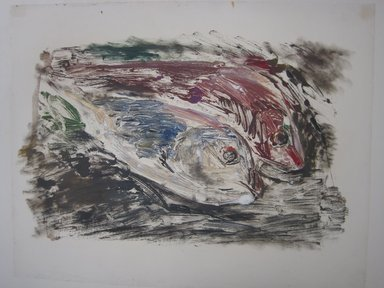 Vaclav Vytlacil (American, 1893-1984). <em>Untitled (Two Fish)</em>, n.d. Monotype, Image: 13 1/4 x 21 1/4 in.  (33.7 x 54.0 cm). Brooklyn Museum, Gift of the executors of the Estate of Vaclav Vytlacil, 1998.111.2. Creative Commons-BY (Photo: Brooklyn Museum, CUR.1998.111.2.jpg)