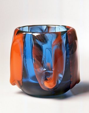Dominick Labino (American, 1910-1987). <em>Vase</em>, 1975. Glass, 4 3/8 x 4 x 4 in. (11.1 x 10.2 x 10.2 cm). Brooklyn Museum, Gift of Emma and Jay Lewis, 1998.147.7. Creative Commons-BY (Photo: Brooklyn Museum, CUR.1998.147.7.jpg)