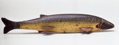 Harry Seymour. <em>Fish Decoy, Trout</em>, ca. 1880. Painted wood, metals, leather, 7 3/8 x 2 x 1 3/8 in.  (18.7 x 5.1 x 3.5 cm). Brooklyn Museum, Gift of the North American Fish Decoy Partners, 1998.148.21. Creative Commons-BY (Photo: Brooklyn Museum, CUR.1998.148.21.jpg)