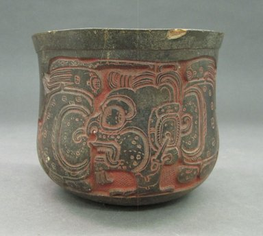 Maya. <em>Carved Bowl</em>, ca. 550-950 C.E. Ceramic, pigment, 5 x 5 15/16 x 5 13/16 in. (12.7 x 15.1 x 14.8 cm). Brooklyn Museum, Gift in memory of Frederic Zeller, 1998.176.1. Creative Commons-BY (Photo: Brooklyn Museum, CUR.1998.176.1_front.jpg)