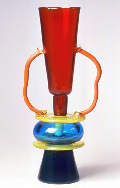 Ettore Sottsass Jr. (Italian, born Austria, 1917-2007). <em>Sirio Vase</em>, 1982. Glass, 13 3/4 x 7 in. (34.9 x 17.8 cm). Brooklyn Museum, Gift of Rosemarie Haag Bletter and Martin Filler, 1998.186. Creative Commons-BY (Photo: Brooklyn Museum, CUR.1998.186.jpg)
