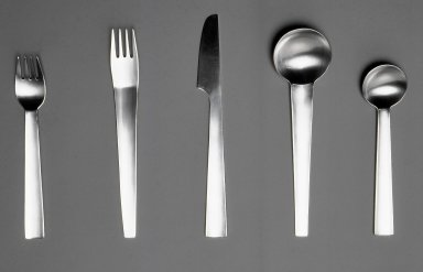 Gerald Gulotta (American, born 1921). <em>Salad Fork, Chromatics Line</em>, Designed 1970; Made 1971-1973. Stainless Steel, 6 1/4 x 1 1/6 in.  (15.9 x 3.0 cm). Brooklyn Museum, Gift of the artist, 1998.94.27. Creative Commons-BY (Photo: Brooklyn Museum, CUR.1998.94.27-31.jpg)