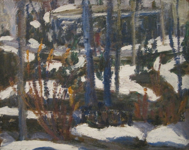 Dorothea A. Dreier (American, 1870-1923). <em>Winter Wood Scene</em>, before 1923. Oil on paperboard mounted to fiberboard, 7 7/8 x 9 3/4 in. (20 x 24.8 cm). Brooklyn Museum, Gift of Mr. and Mrs. Martin Diamond, 1998.99 (Photo: , CUR.1998.99_cropped.jpg)