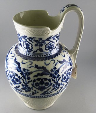 Ridgway, Sparks, & Ridgway. <em>Pitcher and Basin</em>, 1873-1879. Glazed earthenware, a Pitcher: 12 1/2 x 8 x 7 1/2 in.  (31.8 x 20.3 x 19.1 cm). Brooklyn Museum, Gift of Jason and Susanna Berger, 1999.103.24a-b. Creative Commons-BY (Photo: Brooklyn Museum, CUR.1999.103.24a.jpg)