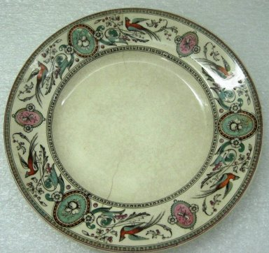 Ridgway, Sparks, & Ridgway. <em>Plate, Chelsea Pattern</em>, 1875-1879; Patented May 31 1875. Glazed earthenware, 1 x 8 3/8 x 8 3/8 in.  (2.5 x 21.3 x 21.3 cm). Brooklyn Museum, Gift of Jason and Susanna Berger, 1999.103.26. Creative Commons-BY (Photo: Brooklyn Museum, CUR.1999.103.26.jpg)