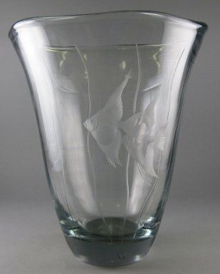Orrefors Glasbruk (founded 1898). <em>Vase</em>, 20th century. Glass, 10 x 9 x 9 in.  (25.4 x 22.9 x 22.9 cm). Brooklyn Museum, Gift of Jason and Susanna Berger, 1999.103.32. Creative Commons-BY (Photo: Brooklyn Museum, CUR.1999.103.32.jpg)