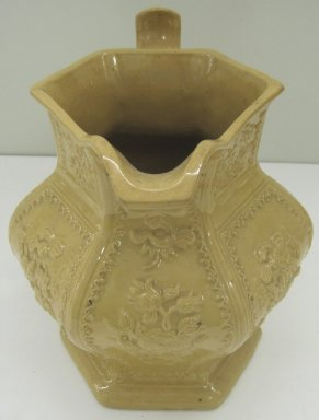Unknown. <em>Pitcher</em>, 19th century. Glazed earthenware, 8 3/4 x 9 1/2 x 7 in. (22.2 x 24.1 x 17.8 cm). Brooklyn Museum, Gift of Paul F. Walter, 1999.108.20. Creative Commons-BY (Photo: Brooklyn Museum, CUR.1999.108.20_front.jpg)