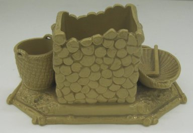 A. Tschinkel. <em>Smoking Set</em>, 19th or 20th century. Glazed earthenware, 4 x 7 1/2 x 6 in. (10.2 x 19.1 x 15.2 cm). Brooklyn Museum, Gift of Paul F. Walter, 1999.108.25. Creative Commons-BY (Photo: Brooklyn Museum, CUR.1999.108.25_back.jpg)