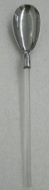 Russel Wright (American, 1904-1976). <em>Salad Tong Spoon,  from a Five Piece Set of Serving Utensils</em>, ca. 1935. Stainless steel and Lucite, 1 x 15 x 2 1/2 in. (2.5 x 38.1 x 6.4 cm). Brooklyn Museum, Gift of Paul F. Walter, 1999.108.30. Creative Commons-BY (Photo: Brooklyn Museum, CUR.1999.108.30.jpg)