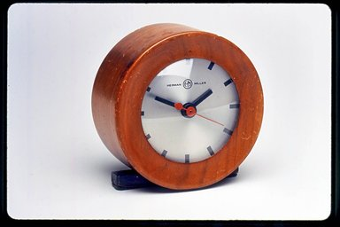 Gilbert Rohde (American, 1894-1944). <em>Clock, Model 6332</em>, ca. 1933. Wood, metal, glass, 4 x 3 7/8 x 2 1/4 in. (10.2 x 9.8 x 5.7 cm). Brooklyn Museum, Gift of Paul F. Walter, 1999.141.2. Creative Commons-BY (Photo: Brooklyn Museum, CUR.1999.141.2.jpg)