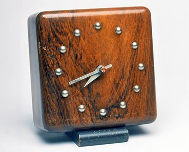 Gilbert Rohde (American, 1894-1944). <em>Clock</em>, ca. 1933. Wood, metal, 5 1/4 x 4 3/4 x 3 in. (13.3 x 12.1 x 7.6 cm). Brooklyn Museum, Gift of Paul F. Walter, 1999.141.3. Creative Commons-BY (Photo: Brooklyn Museum, CUR.1999.141.3.jpg)