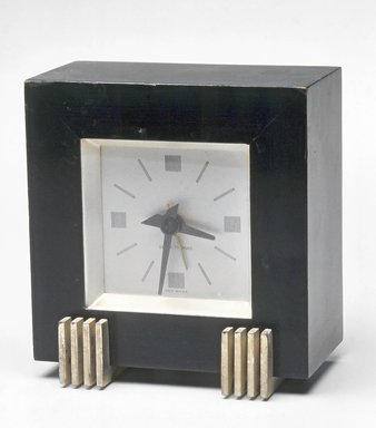 Seth Thomas Clock Co. (founded 1813). <em>Clock</em>, ca. 1935. Painted wood, metal and glass, 4 5/8 x 4 1/2 x 2 7/8 in.  (11.7 x 11.4 x 7.3 cm). Brooklyn Museum, Gift of Paul F. Walter, 1999.141.8. Creative Commons-BY (Photo: Brooklyn Museum, CUR.1999.141.8.jpg)