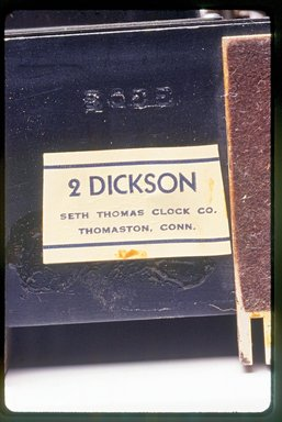 Seth Thomas Clock Co. (founded 1813). <em>Clock</em>, ca. 1935. Painted wood, metal and glass, 4 5/8 x 4 1/2 x 2 7/8 in.  (11.7 x 11.4 x 7.3 cm). Brooklyn Museum, Gift of Paul F. Walter, 1999.141.8. Creative Commons-BY (Photo: Brooklyn Museum, CUR.1999.141.8_mark.jpg)