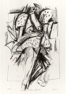 Gerson Leiber (American, 1921-2018). <em>Nymph with Umbrellas lV</em>, 1990-1991. Lithograph, Sheet: 19 x 13 3/8 in. (48.3 x 34 cm). Brooklyn Museum, Gift of Mr. and Mrs. Gerson Leiber, 1999.146.9. © artist or artist's estate (Photo: Brooklyn Museum, CUR.1999.146.9.jpg)