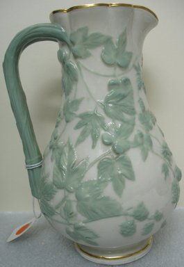 Worcester Royal Porcelain Co. (founded 1751). <em>Jug</em>, ca. 1886. Porcelain, 9 x 6 5/8 x 5 5/8 in. (22.9 x 16.8 x 14.3 cm). Brooklyn Museum, Gift of the Estate of Harold S. Keller, 1999.152.224. Creative Commons-BY (Photo: Brooklyn Museum, CUR.1999.152.224.jpg)