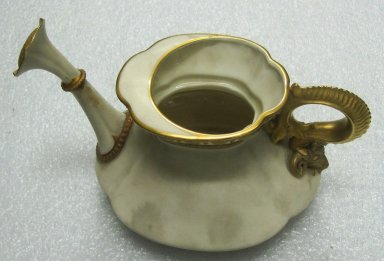 Worcester Royal Porcelain Co. (founded 1751). <em>Watering Can</em>, 1897. Porcelain, 6 1/8 x 9 1/2 x 6 1/4 in. (15.6 x 24.1 x 15.9 cm). Brooklyn Museum, Gift of the Estate of Harold S. Keller, 1999.152.288. Creative Commons-BY (Photo: Brooklyn Museum, CUR.1999.152.288.jpg)