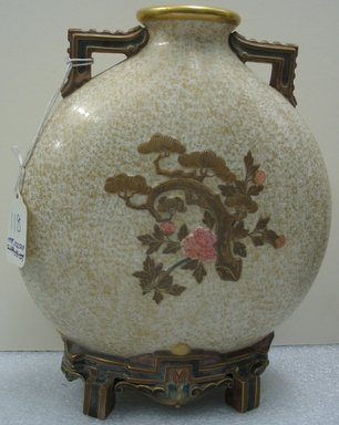 Worcester Royal Porcelain Co. (founded 1751). <em>Vase</em>, 1875. Porcelain, 10 1/2 x 9 3/4 x 4 1/4 in. (26.7 x 24.8 x 10.8 cm). Brooklyn Museum, Gift of the Estate of Harold S. Keller, 1999.152.324. Creative Commons-BY (Photo: Brooklyn Museum, CUR.1999.152.324_view2.jpg)