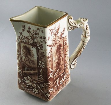 "Ridgways. <em>Small Pitcher, ""Vistas,""</em> 1880-1885. Glazed earthenware, 6 1/2 x 5 1/2 x 3 3/8 in.  (16.5 x 14.0 x 8.6 cm). Brooklyn Museum, Gift of Paul F. Walter, 1999.29.53. Creative Commons-BY (Photo: Brooklyn Museum, CUR.1999.29.53_view1.jpg)"