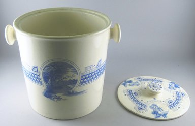 "T.C. Brown-Westhead Moore & Co. (1862-1904). <em>Covered Slop Pot, ""Atlanta,""</em> ca. 1880. Glazed earthenware, height: 10 3/4 in. (27.3 cm); width: 11 1/2 in. (29.2 cm); diameter: 9 5/8 in. (24.4 cm). Brooklyn Museum, Gift of Paul F. Walter, 1999.29.55a-b. Creative Commons-BY (Photo: Brooklyn Museum, CUR.1999.29.55a-b.jpg)"
