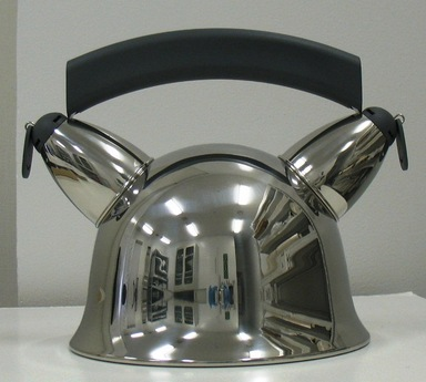 "Andrea Branzi (Italian, born 1938). <em>Kettle, ""Mama-O,""</em> Designed 1988. Stainless steel and polyamide, height: (21.5 cm); diameter: (20.0 cm). Brooklyn Museum, Gift of Alessi S.p.A., 1999.40.12. Creative Commons-BY (Photo: Brooklyn Museum, CUR.1999.40.12.jpg)"