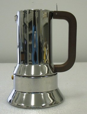 Richard Sapper (German, 1932-2016). <em>9090 Espresso Coffee Maker</em>, Designed 1979-1992. Stainless steel, height: (20.5 cm); diameter: (12.5 cm). Brooklyn Museum, Gift of Alessi S.p.A., 1999.40.22. Creative Commons-BY (Photo: Brooklyn Museum, CUR.1999.40.22_view1.jpg)