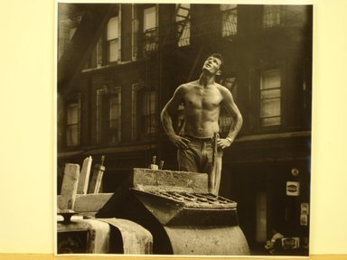 Jim Steinhardt (American, 1917-2010). <em>Cement Worker Looking Upwards</em>, 1955. Toned gelatin silver photograph, Sheet: 11 x 10 3/4 in.  (27.9 x 27.3 cm);. Brooklyn Museum, Gift of the artist, 1999.94.2. © artist or artist's estate (Photo: Brooklyn Museum, CUR.1999.94.2.jpg)