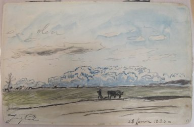 Johan Barthold Jongkind (Dutch, 1819-1891). <em>Sketch, Plowing Scene</em>. Watercolor, 6 1/4 x 9 7/16 in.  (15.9 x 24.0 cm). Brooklyn Museum, Gift of a friend, 20.668 (Photo: Brooklyn Museum, CUR.20.668.jpg)