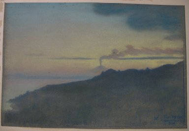 Charles Caryl Coleman (American, 1840-1928). <em>Casamicciola As Seen from the Island of Ischia</em>, 1904. Pastel on gray-blue wove paper mounted overall to an acidic, 2-ply board, Sheet: 12 1/8 x 18 1/4 in. (30.8 x 46.4 cm). Brooklyn Museum, Gift of the artist, 20.777 (Photo: Brooklyn Museum, CUR.20.777.jpg)