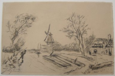 Johan Barthold Jongkind (Dutch, 1819-1891). <em>Landscape with Windmill</em>. Charcoal with watercolor wash on paper, 6 5/16 x 9 3/4 in. (16.1 x 24.7 cm). Brooklyn Museum, Gift of a friend, 20.944 (Photo: Brooklyn Museum, CUR.20.944.jpg)