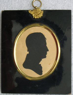 William James Hubard (American, born England, 1807-1862). <em>Profile of a Man</em>, ca. 1835. Painted paper cut-out mounted to wove paper in papier-mâché frame with brass hanger, Image (sight): 3 3/8 x 2 3/4 in. (8.6 x 7 cm). Brooklyn Museum, Bequest of Samuel E. Haslett, 20.964 (Photo: Brooklyn Museum, CUR.20.964.jpg)