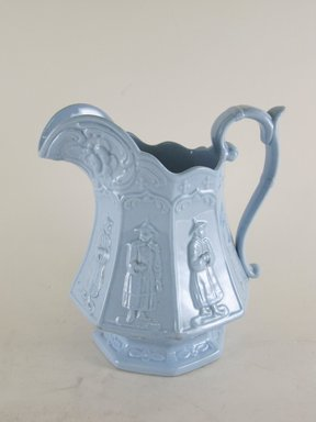 <em>Jug</em>, ca. 1850. Blue glazed earthenware, 6 7/8 x 6 3/4 x 5 1/4 in.  (17.5 x 17.1 x 13.3 cm). Brooklyn Museum, Gift of Gretchen Adkins, 2000.126.7. Creative Commons-BY (Photo: Brooklyn Museum, CUR.2000.126.7_view1.jpg)
