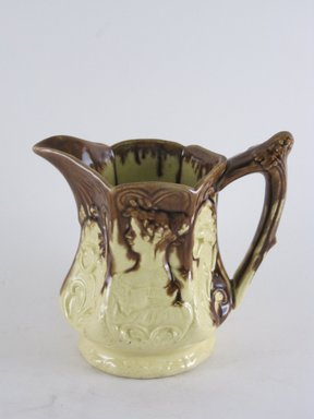 <em>Jug</em>, ca. 1850. Cream and brown stoneware, 5 3/8 x 5 3/8 x 3 3/8 in.  (13.7 x 13.7 x 8.6 cm). Brooklyn Museum, Gift of Gretchen Adkins, 2000.126.8. Creative Commons-BY (Photo: Brooklyn Museum, CUR.2000.126.8_view1.jpg)