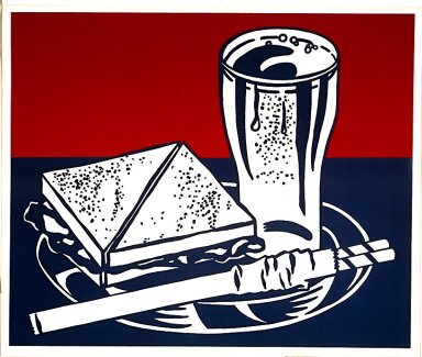 Roy Lichtenstein (American, 1923-1997). <em>Sandwich and Soda</em>, 1964. Serigraph on clear plastic, 20 x 24 in. (50.8 x 61 cm). Brooklyn Museum, Gift of Ruth Bowman, 2000.129.4. © artist or artist's estate (Photo: Image courtesy of Estate of Roy Lichtenstein, CUR.2000.129.4_Lichtenstein_Estate_3535.jpg)