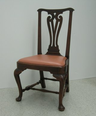 <em>Side Chair</em>, ca. 1740. Wood (mahagony), textile, fake leather upholstery, 38 x 21 1/2 x 19 1/2 in.  (97.5 x 54.6 x 49.5 cm). Brooklyn Museum, Purchase gift of Wunsch Foundation, Inc., 2000.17.2. Creative Commons-BY (Photo: Brooklyn Museum, CUR.2000.17.2.jpg)