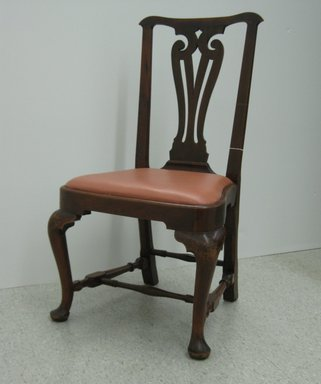 <em>Side Chair</em>, ca. 1740. Wood (mahogany?), fake leather upholstery, 38 3/8 x 22 x 19 1/2 in.  (97.5 x 55.9 x 49.5 cm). Brooklyn Museum, Purchase gift of Wunsch Foundation, Inc., 2000.17.3. Creative Commons-BY (Photo: Brooklyn Museum, CUR.2000.17.3.jpg)