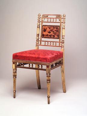 Herter Brothers (American, 1865-1905). <em>Side Chair</em>, ca. 1878. Wood, gilt, fabric, 34 1/4 x 17 x 19 in. (87 x 43.2 x 48.3 cm). Brooklyn Museum, Marie Bernice Bitzer Fund, 2000.4. Creative Commons-BY (Photo: Brooklyn Museum, CUR.2000.4.jpg)