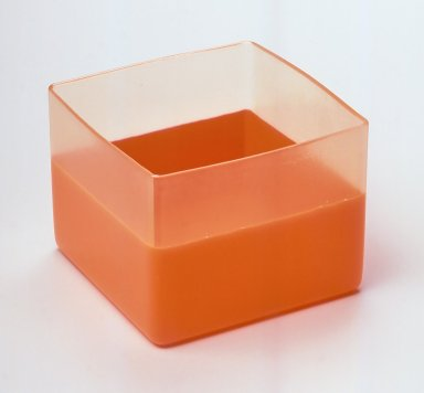 Karim Rashid (Canadian, born Egypt, 1960). <em>Cube, Vessel</em>, Manufactured 1999. Plastic, 3 1/2 x 4 1/2 x 4 1/2 in.  (8.9 x 11.4 x 11.4 cm). Brooklyn Museum, Gift of Karim Rashid, 2000.50.1. Creative Commons-BY (Photo: Brooklyn Museum, CUR.2000.50.1.jpg)