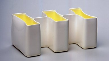 Karim Rashid (Canadian, born Egypt, 1960). <em>Sectional, Vessel</em>, Manufactured 1999. Plastic, 4 1/2 x 10 1/2 x 5 3/4 in.  (11.4 x 26.7 x 14.6 cm). Brooklyn Museum, Gift of Karim Rashid, 2000.50.4. Creative Commons-BY (Photo: Brooklyn Museum, CUR.2000.50.4.jpg)