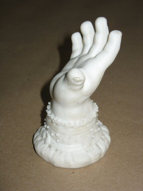 <em>Hand</em>, ca. 1850. Unglazed porcelain, 4 1/8 x 2 15/16 x 2 7/8 in.  (10.5 x 7.5 x 7.3 cm). Brooklyn Museum, Gift of C. Deirdre Phelps in memory of Southwick Phelps, 2001.13.3. Creative Commons-BY (Photo: Brooklyn Museum, CUR.2001.13.3_view1.jpg)