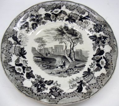 Enoch Wood & Sons (active 1818-1846). <em>Plate, European Scenery Pattern</em>, ca. 1840. Glazed earthenware, height: 1 in. (2.5 cm); diameter: 9 3/8 in. (23.8 cm). Brooklyn Museum, Gift of Paul F. Walter, 2001.55.15. Creative Commons-BY (Photo: Brooklyn Museum, CUR.2001.55.15.jpg)