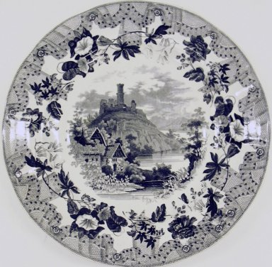 Enoch Wood & Sons (active 1818-1846). <em>Bowl, European Scenery Pattern</em>, ca. 1840. Glazed earthenware