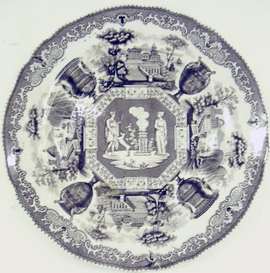 Old Hall Porcelain Works Co., Ltd. (1887-1902). <em>Plate, Antiques Pattern</em>, ca. 1840. Glazed earthenware, height: 1 in. (2.5 cm); diameter: 9 1/4 in. (23.5 cm). Brooklyn Museum, Gift of Paul F. Walter, 2001.55.28. Creative Commons-BY (Photo: Brooklyn Museum, CUR.2001.55.28.jpg)